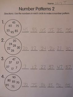 great math ideas, number patterns, 100s chart, and enrichment activities