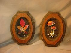 Vintage 1970s Pressed Wood and Copper Wall Plaques Mushroom Leaf LOT of 2 Retro