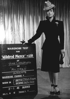 "wardrobe test photo for the 1945 Michael Curtiz film ""Mildred Pierce""."