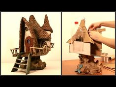 ❣DIY Fairy House Lamp Recycling TRASH❣ Hi, in this tutorial I show you how I made a fairy house lamp recycling some cardboard from an old box, egg cartons, pizza boxes, toilet paper tubes and two Clay Fairy House, Gnome House, Fairy Houses, Art Carton, Recycling, House Lamp, Cool Roof, Clay Fairies, Creation Deco