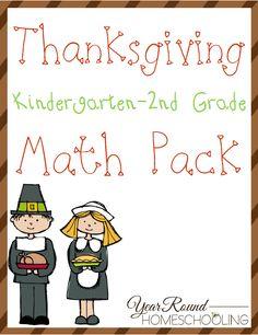 Free Thanksgiving Math Printable Pack