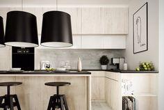 plan de travail cuisine en granit et placage armoires bois blanchi