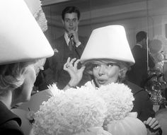 ddbac453853 Halston fitting Carol Channing for a hat at Bergdorf Goodman. Carol  Channing