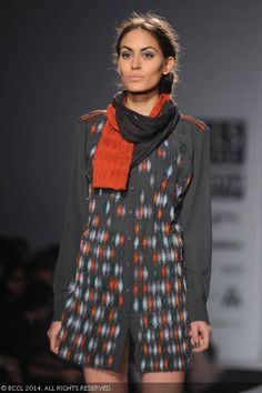 Klaudia displays a creation by designer Rimzim Dadu on Day 2 of Wills Lifestyle India Fashion Week (WIFW) autumn-winter (AW) 2014, held in Delhi, on March 27, 2014.