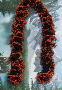 Hand crafted knit ribbon scarf orange and black made by a local artist www.landlcandlesandcrafts.com $14