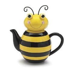 Whimsical Bumble/Honey Bee Ceramic Teapot ~w/gift box~
