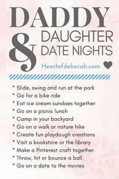 Fun daddy and daughter date night ideas! Give date night cards as a personalized gift this Father's Day!