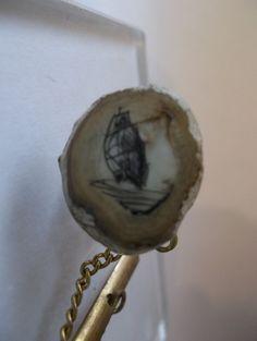 Vintage Scrimshaw Tie Tack Pin/ Whaling Arts/ Etched Scrimshaw Schooner or Sailing Vessel/ Signed J New England Sailor's Art or Sea Art