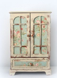 Huge Shabby Chic Jewelry Box Dresser Armoire French  Monogrammed OOAK. $109.00, via Etsy.