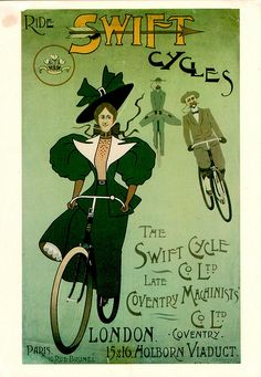 Her hat is almost as big as her sleeves, very Londonderry-ish ahead of the fellows! Vintage cycling advertising by Mark Gell, via Flickr