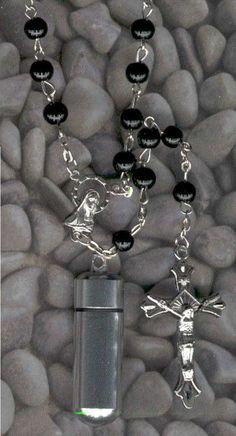 B,Rosary,Cremation Jewelry,Memorial Urn,Keepsake Urn,Cremation Urn,Key Chain Urn…
