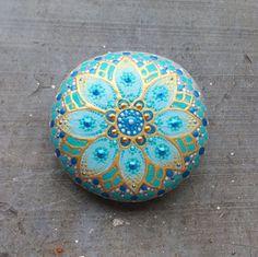 Large painted mandala stone dotted rock handpainted~meditation paperweight decoration handpainted natural spiritual gift hippy boho bohemian by RainbowSoulShop on Etsy
