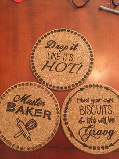 Wood burning pen project: cork trivets More