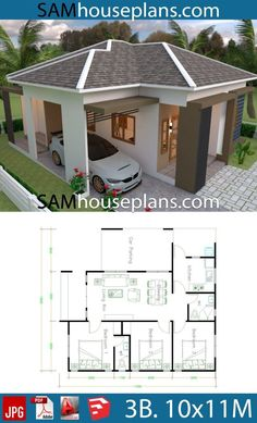 House Plans with 3 Bedrooms Roof tiles - Sam House Plans House Plans with 3 Bedrooms Roof tilesThe House has:-Car Parking and garden-Living room,-Dining Bedrooms, 2 bathrooms One Floor House Plans, Little House Plans, Small Modern House Plans, Dream House Plans, Little Houses, Modern Bungalow House, Bungalow House Plans, Tiny House Cabin, Tiny House 3 Bedroom