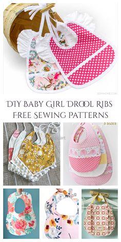 Diy Baby Bibs Pattern, Wallet Sewing Pattern, Baby Bibs Patterns, Bib Pattern, Sewing Patterns Free, Free Sewing, Baby Gifts To Make, Baby Sewing Projects, Baby Girl Crochet