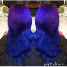 Blue and purple/violet ombre Bright Hair, Colorful Hair, Violet Ombre, Ombre Hair, Hair Goals, Different Colors, My Hair, Cool Hairstyles, Long Hair Styles