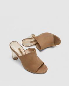 Shop Women's Zara Tan size 7 Mules & Clogs at a discounted price at Poshmark. Has a chic lucite heel. Zara size Bundle and save! Women's Mules, Mules Shoes, Women's Shoes Sandals, Heeled Mules, Heeled Sandals, Jimmy Choo, Mule Plate, Espadrilles, Heels