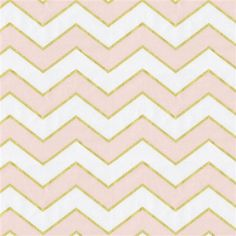 Pale Pink and Gold Chevron Fabric by the Yard | Pink Fabric | Carousel Designs