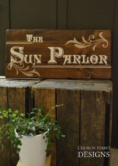 Hand Painted Sun Parlor Sign - Wooden Custom Sign by Church Street Designs