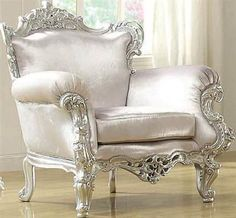 Neo Classic Silver Leather Like Vinyl Wood Accent ChairACM-59139