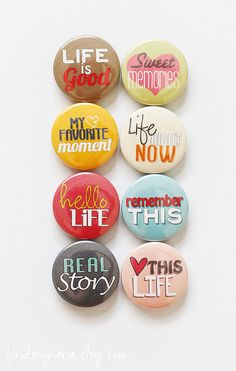 Image of Hello Life Flair Hello Life, Clay Magnets, Button Maker, Button Badge, Pin Button, Diy Pins, Badge Design, Nature Crafts, Custom Buttons