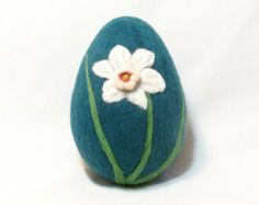 Extra Large Needle Felted Easter Egg - Pink and White Daffodil on Teal Green Egg