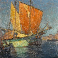 Edgar Payne Italian Fishing Boats in a Harbor oil on board 30 ½ X 30 ½ in. Paintings I Love, Seascape Paintings, Ship Paintings, Landscape Art, Landscape Paintings, Edgar Payne, Sailboat Painting, Russian Painting, Virtual Art
