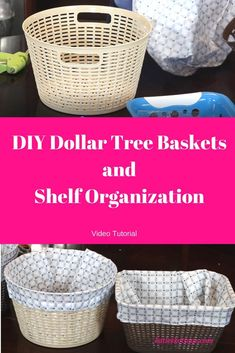 Watch a tutorial on diy dollar tree baskets. I show you how to make cute decorat., - Watch a tutorial on diy dollar tree baskets. I show you how to make cute decorat…, - Dollar Tree Baskets, Dollar Tree Storage Bins, Dollar Tree Organization, Dollar Tree Decor, Dollar Tree Crafts, Diy Organization, Storage Baskets, Dyi Baskets, Roommate Organization