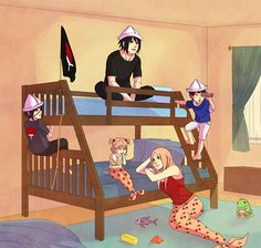 SasuSaku not canon but so cute!!! Look at Sakura and daughter being mermaids while Sasuke and sons are sailors! Awwwww!!