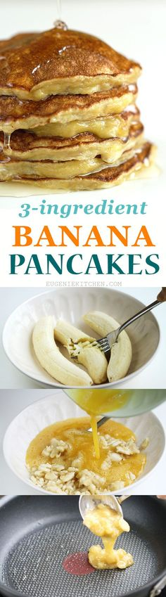 Quick, easy, 3-ingredient, flourless, low-calorie, gluten-free banana pancakes. The simplest fluffy and delicious pancakes ever!
