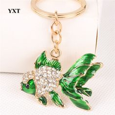 Perfect  Gift Goldfish Crystal Rhynestone Car Key Ring Keychain Charm Bag Pendat #YXT