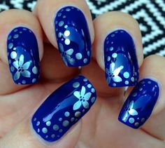 Flowers and Dots on Blue Nail Art - Little Miss Nailpolish