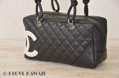 CHANEL White / Black Leather Cambon Line Shoulder Bag A52171