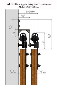 The best DIY projects & DIY ideas and tutorials: sewing, paper craft, DIY. DIY Furniture Plans & Tutorials : Our rustic style AUSTIN bypass sliding barn door hardware will captivate all those who step foot into your home. Diy Barn Door, Sliding Barn Door Hardware, Window Hardware, Door Hinges, Door Brackets, Door Latch, Diy Door, Door Design, House Design