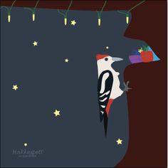 Hakkespett - Julekort - Fjærdrakt
