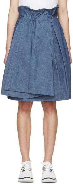 Jil Sander Navy - Blue Chambray Skirt
