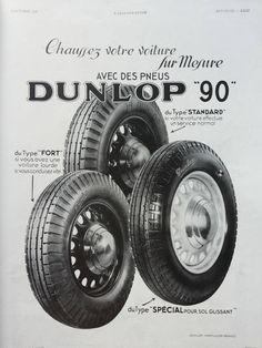 DUNLOP Tires vintage advertising, 1936 retro poster, old magazine ad, original art deco illustration print, Dunlop car tyres advertisement by OldMag on Etsy