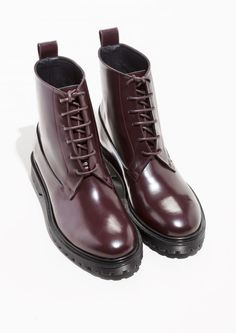& Other Stories image 2 of Lace-Up Leather Boots in Burgundy
