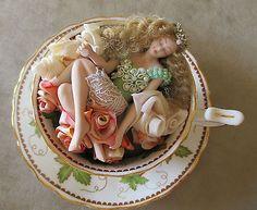 """TEACUP FAIRY - FAIRY DREAMS OOAK - handmade Porcelain fairy figurine - """"IVY"""""""