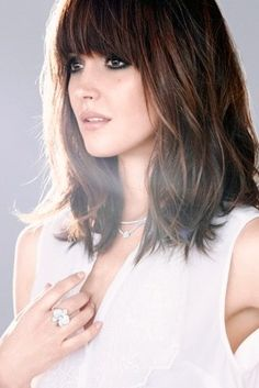 Rose Byrne - mid length hair with bangs I'm thinking about doing bangs again.