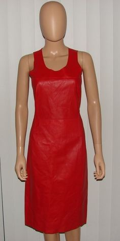 COSTUME NATIONAL LEATHER RED ORIGINAL STYLISH BODYCON DRESS SEXY NEW CNC $2600 #CostumeNational #StretchBodycon #Clubwear
