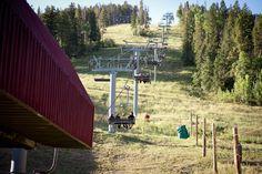 Heading up the mountain in chairlift. Park Hyatt Beaver Creek Colorado