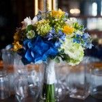 Blue and yellow bouquet.