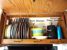 Airstream kitchen cabinet organization Airstream Sport, Airstream Trailers, Airstream Bambi, Airstream Living, Vintage Airstream, Vintage Trailers, Airstream Remodel, Airstream Renovation, Airstream Interior