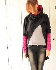 Drapey cowl neck sweatshirt by dressign on Etsy Shrug Sweater, Cotton Sweater, Pink Sweater, Indie, Hooded Jacket, Bomber Jacket, Pullover, Cowl Neck, Black Cotton