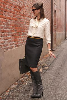 cream blouse, charcoal pencil skirt, yellow skinny belt