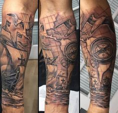 Clock And Compass Tattoo For Men