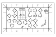 Sample Layout for a reception with 150 guests a 40' x 80' tent with dinner seating, a buffet, a dance floor and space for a DJ.