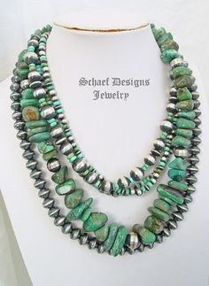 Schaef Designs green turquoise nugget & sterling silver bead necklace with…