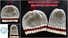 How to loom knit a hat - rib stitch, 2 ways ~VERY EASY~ - YouTube